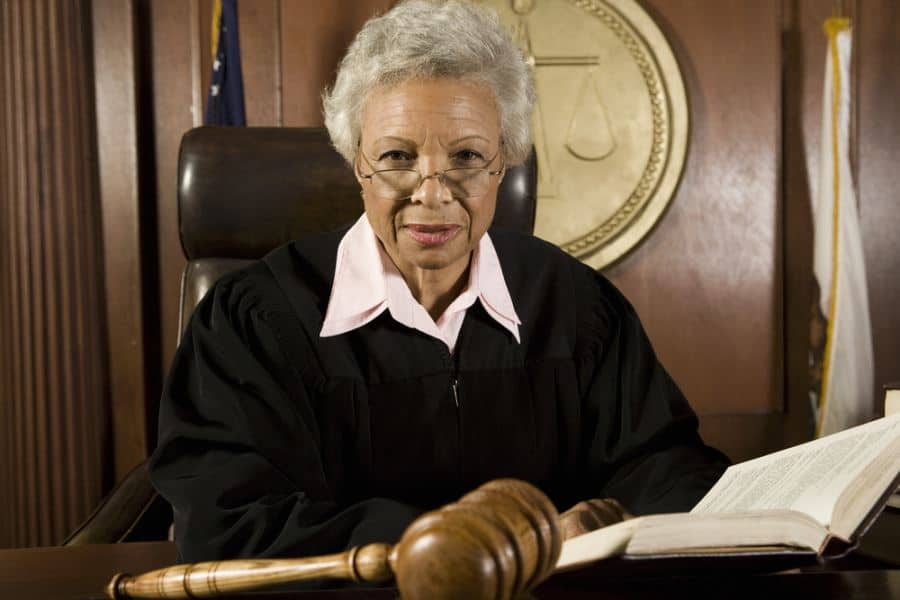Woman judge working a case